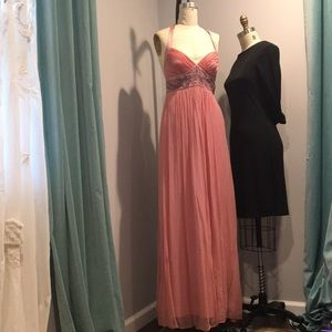Pink Silk Halter Evening Gown with Beading